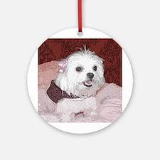 Maltese Pop Art Cosette Ornament (Round)