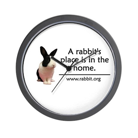A rabbits place is in the hom Wall Clock
