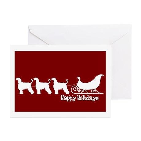 "Afghan Hound ""Sleigh"" Greeting Cards (Pk of 10"