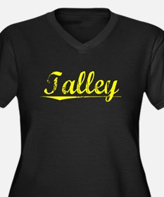 Talley, Yellow Women's Plus Size V-Neck Dark T-Shi