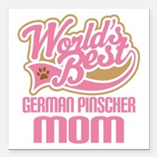 "German Pinscher Mom Square Car Magnet 3"" x 3"""