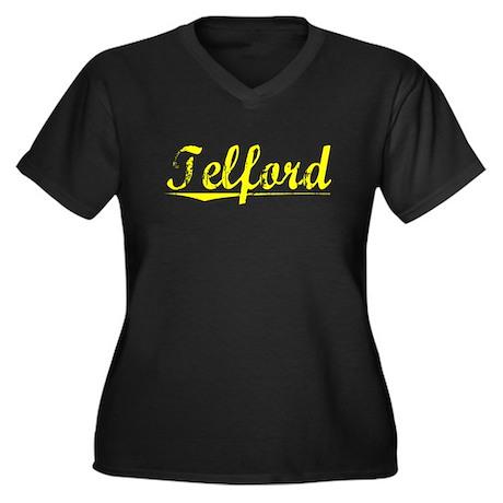 Telford, Yellow Women's Plus Size V-Neck Dark T-Sh