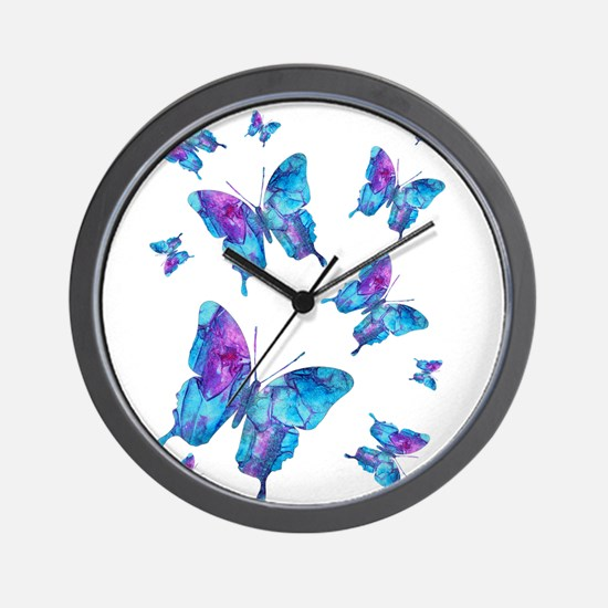 Electric Blue Butterfly Flurry Wall Clock