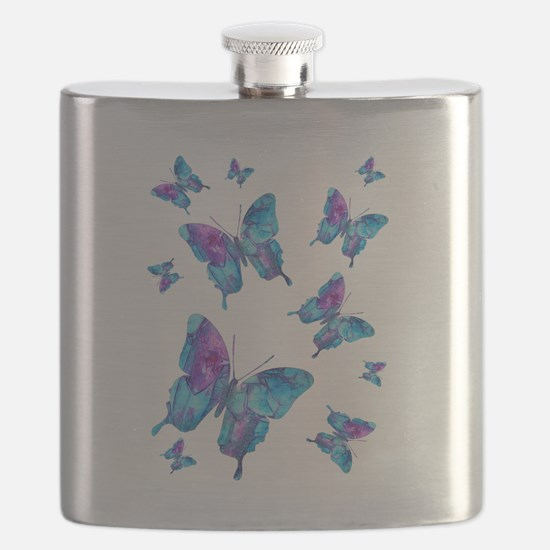 Electric Blue Butterfly Flurry Flask