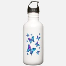 Electric Blue Butterfly Flurry Water Bottle