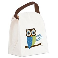 Owl Art I'm A Hoot Canvas Lunch Bag