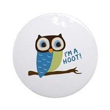 Owl Art I'm A Hoot Ornament (Round)