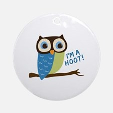 Owl Art I'm A Hoot Ornament (Round)