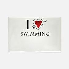 i love swimming heart Rectangle Magnet