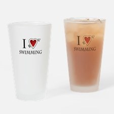 i love swimming heart Drinking Glass