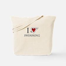 i love swimming heart Tote Bag