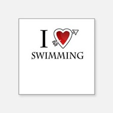 "i love swimming heart Square Sticker 3"" x 3"""