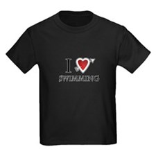 i love swimming heart T
