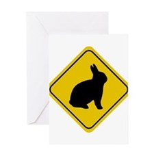 rabbit-crossing-sign Greeting Cards