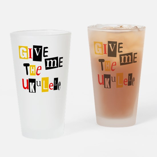 Ukulele Ransom Note Drinking Glass