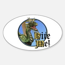Bite Me Dragon Oval Decal