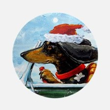 Dachshund Takes the Wheel Holiday Ornament