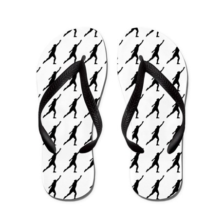 Shot Put Track Field Silhouette or Icon Flip Flops