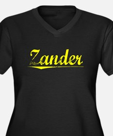 Zander, Yellow Women's Plus Size V-Neck Dark T-Shi