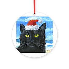 SANTA HAT CAT Ornament (Round)