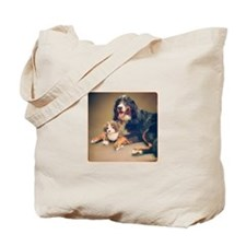 Berner Posing with Plush Tote Bag