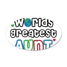 WorldsGreatestAuntsPrimary.png Oval Car Magnet