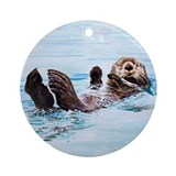 Sea otter Round Ornaments