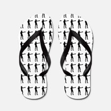 Boxing or Fighting Silhouette or Icon Flip Flops