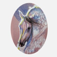 Dappled Grey Horse on Pink Ornament (Oval)