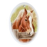Draft horses Oval Ornaments