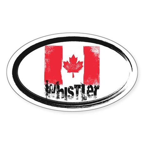 Whistler Grunge Flag Sticker (Oval)