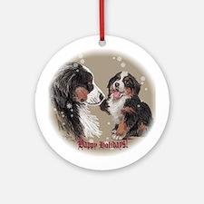 "Bernese Mt. Dog ""Happy Holidays"" Ornament (Round)"