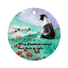 Border Collie with Flock Ornament (Round)