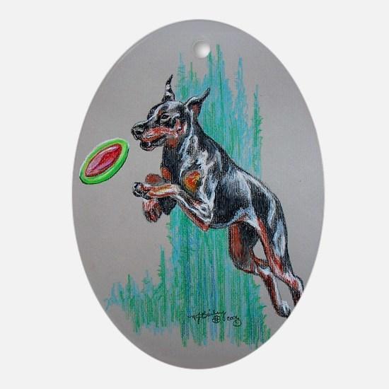Doberman Frisbee Dog Oval Ornament