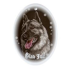 Norwegian Elkhound Christmas Oval Ornament