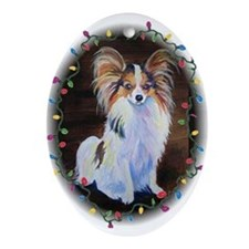 Papillon with Christmas Lights Oval Ornament