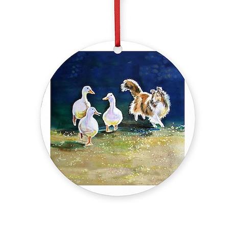 Sheltie Herding Ducks Ornament (Round)