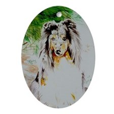 Blue Merle Sheltie Oval Ornament