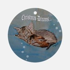 "Kitten ""Christmas Dreams"" Ornament (Round)"