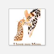 "mom and baby giraffe love Square Sticker 3"" x 3"""
