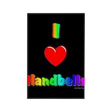 I Love Handbells Black Rectangle Magnet