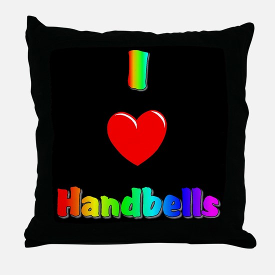 I Love Handbells Black Throw Pillow