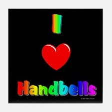 I Love Handbells Black Tile Coaster