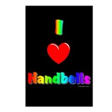 I Love Handbells Black Postcards (Package of 8)