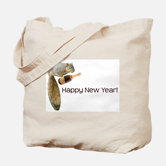 Happy New Year Squirrel Tote Bag