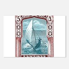 1914 Zanzibar Sailing Canoe Postage Stamp Postcard