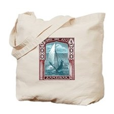 1914 Zanzibar Sailing Canoe Postage Stamp Tote Bag