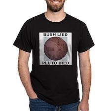 Bush Lied Pluto Died Black T-Shirt