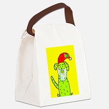 Christmas Cute Santa Dog Designer Canvas Lunch Bag
