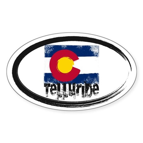 Telluride Grunge Flag Sticker (Oval)